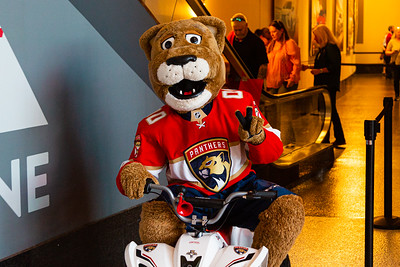 Panthers' mascot Stanley C. Panther flashes the peace sign before scooting out into the crowed on his four wheeler at the BB&T Center in Sunrise, FL on Thursday, March 5, 2020 where the Florida Panthers hosted the Boston Bruins. The Bruins went on to beat the Panthers 2-1 in overtime. [JOSEPH FORZANO/palmbeachpost.com]
