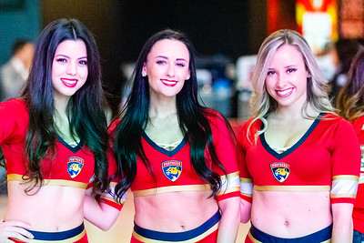 Panthers' cheerleaders await the crowd just before the doors open at the BB&T Center in Sunrise, FL on Thursday, March 5, 2020 where the Florida Panthers hosted the Boston Bruins. The Bruins went on to beat the Panthers 2-1 in overtime. [JOSEPH FORZANO/palmbeachpost.com]