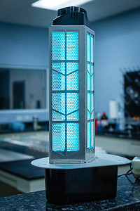 A new model, the Halo LED residential air purifier at the RGF manufacturing plant in Riviera Beach on Friday, March 27, 2020. Since the global coronavirus outbreak, their sales are up 500 percent, and they have added a third shift in their Riviera Beach  factory. [JOSEPH FORZANO/palmbeachpost.com]