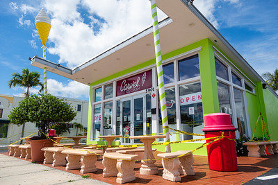 The Carvel located at 5901 S Dixie Highway in West Palm Beach is open for business, although the outdoor seating area is taped off in the interests of social distancing during the coronavirus pandemic. [JOSEPH FORZANO/palmbeachpost.com]