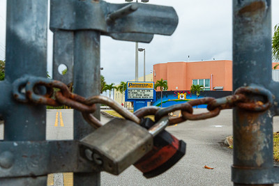 The gates are locked at Palmetto Elementary School on Parker Avenue in West Palm Beach, Monday, April 6, 2020. Palm Beach County Schools have been closed since March 16 due to the coronavirus pandemic. [JOSEPH FORZANO/palmbeachpost.com]