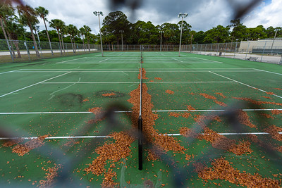 The tennis courts are empty and covered with dead leaves at Lake Lytal Park in West Palm Beach on Tuesday, April 7, 2020. [JOSEPH FORZANO/palmbeachpost.com]