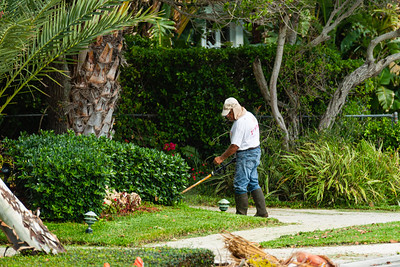A lawn care worker edges a driveway at a home along S. Flagler Drive in West Palm Beach on Tuesday, April 7, 2020. [JOSEPH FORZANO/palmbeachpost.com]