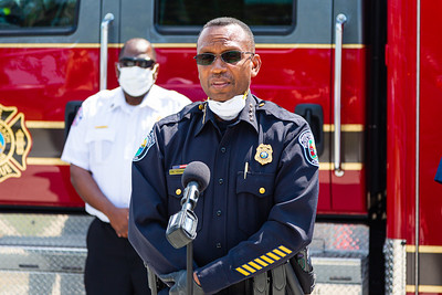 Riviera Beach Police Chief Nate Osgood speaks to the press to thank SICA and Amrit for the PPE that was delivered to the Riviera Beach Fire Station #87 in Riviera Beach on Wednesday, April 8, 2020. [JOSEPH FORZANO/palmbeachpost.com]