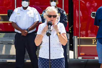 Marie Davis, Vice President of the Singer Island Civic Association speaks to the press at Riviera Beach Fire Station #87 in Riviera Beach on Wednesday, April 8, 2020. SICA and Amrit combined forces to get PPE for Riviera Beach first responders. [JOSEPH FORZANO/palmbeachpost.com]