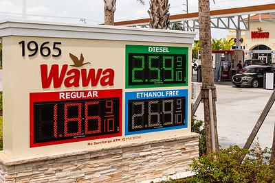 Gas prices are under $2.00 at the Wawa on Hypoluxo Road in Boynton Beach, FL, Monday, April 20, 2020. [JOSEPH FORZANO/palmbeachpost.com]