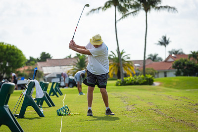 Ed Tamashunas of Delray Beach practices on the driving range at the Westchester Golf Club in Boynton Beach, Wednesday, April 29, 2020. Golf courses were open for business for the first time in weeks. [JOSEPH FORZANO/palmbeachpost.com]