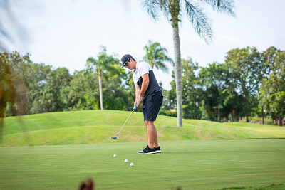 Evan Weinberg from Lake Worth practices putting at the Westchester Golf Club in Boynton Beach, Wednesday, April 29, 2020. Golf courses were open for business for the first time in weeks. [JOSEPH FORZANO/palmbeachpost.com]