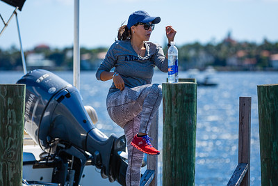 Susana Gill from West Palm Beach works out on a dock along S. Flagler Drive in West Palm Beach, Friday, May 1, 2020. [JOSEPH FORZANO/palmbeachpost.com]