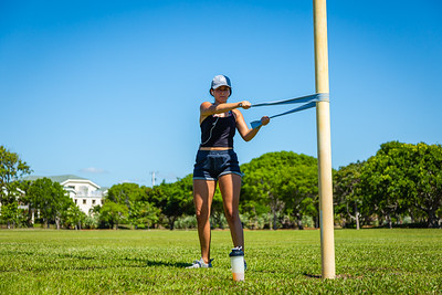 Taylor Voorhees of Jupiter works out in Carlin Park in Jupiter, Monday, May 4, 2020. [JOSEPH FORZANO/palmbeachpost.com]