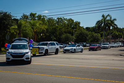 The parade procession pulls out of the staging area to start the special Mother's Day Parade at MorseLife in West Palm Beach, Saturday, May 9, 2020. Residents at MorseLife have been in isolation since the outbreak of the coronavirus.  [JOSEPH FORZANO/palmbeachpost.com]