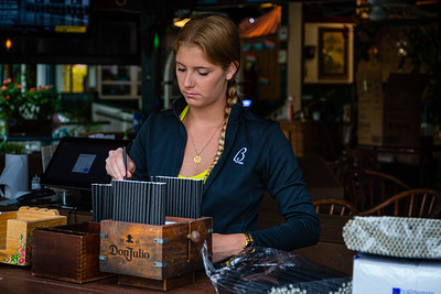 Lindsey Day prepares the bar at E.R. Bradley's in downtown West Palm Beach on Sunday, May 10, 2020. Bradley's will reopen for sit down business on Monday after Governor Ron DeSantis said restaurants and other businesses can open Monday, May 11, easing coronavirus restrictions in Palm Beach County. [JOSEPH FORZANO/palmbeachpost.com]
