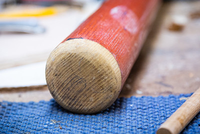 The end of a finished corked bat at Bryan Greenberg's home in Jupiter, Thursday, June 4, 2020. Greenberg used to cork bats for Pete Rose during Rose's days playing for the Montreal Expos. [JOSEPH FORZANO/palmbeachpost.com]
