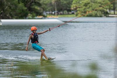 A boy wake boards at Shark Wake Park in Okeeheelee Park in West Palm Beach, Friday, July 17, 2020. [JOSEPH FORZANO/palmbeachpost.com]