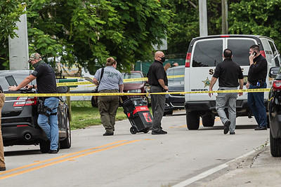 Palm Beach County Sheriff Crime Scene Unit arrives  outside a home where two women died of gunshot wounds in the 7900 block of Overlook Road the San Castle neighborhood of Lake Worth. [JOSEPH FORZANO/palmbeachpost.com]