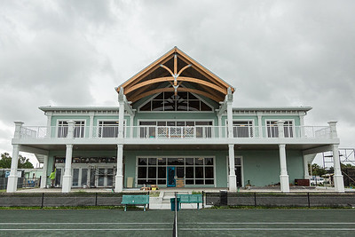The rear facade of the clubhouse of Palm Beach Gardens Tennis Center, Wednesday, July 22, 2020. The clubhouse is under construction and should be open for business this September. [JOSEPH FORZANO/palmbeachpost.com]