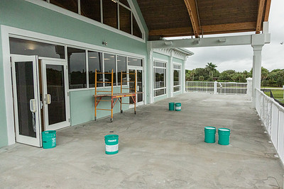 The outdoor dining area on the second floor at the new clubhouse of Palm Beach Gardens Tennis Center, Wednesday, July 22, 2020. The clubhouse is under construction and should be open for business this September. [JOSEPH FORZANO/palmbeachpost.com]