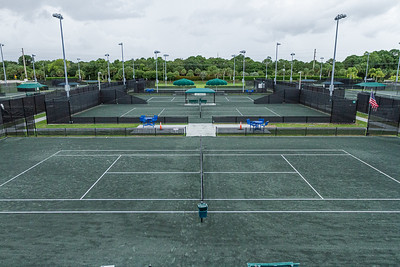 A look down at the tennis complex from the second floor at the new clubhouse of Palm Beach Gardens Tennis Center, Wednesday, July 22, 2020. The clubhouse is under construction and should be open for business this September. [JOSEPH FORZANO/palmbeachpost.com]