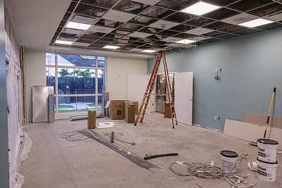 A multipurpose room that will also be used a a tournament room at the new clubhouse of Palm Beach Gardens Tennis Center, Wednesday, July 22, 2020. The clubhouse is under construction and should be open for business this September. [JOSEPH FORZANO/palmbeachpost.com]