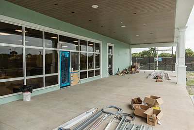The outdoor dining area at the new clubhouse of Palm Beach Gardens Tennis Center, Wednesday, July 22, 2020. The clubhouse is under construction and should be open for business this September. [JOSEPH FORZANO/palmbeachpost.com]