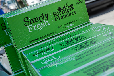 Boxes of produce stacked and ready for distribution for free in the parking lot of the Home Depot on Northlake Blvd. in Lake Park, Friday, July 24, 2020. In conjunction with Home Depot, the West Palm Beach Chapter of the American Culinary Federation has been distributing food at this location for the past three Fridays and will back for the next three Fridays. Over 1,440 boxes of produce will be distributed today. The boxes contain various items of fresh produce including lettuce, plums and other fruits and vegetables. [JOSEPH FORZANO/palmbeachpost.com]