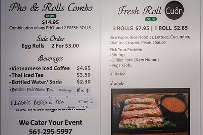 Part of the menu at Pho & Rolls, a new Vietnamese restaurant located at 901 W. Indiantown Road in Jupiter, Wednesday, July 29, 2020. [JOSEPH FORZANO/palmbeachpost.com]
