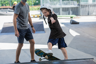 Beau Baxter, 6, of West Palm Beach, rides his skateboard up a ramp at Phipps Park Skatepark in West Palm Beach, Monday, August 10, 2020. [JOSEPH FORZANO/palmbeachpost.com]