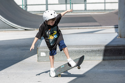 Beau Baxter, 6, of West Palm Beach, rides his skateboard at Phipps Park Skatepark in West Palm Beach, Monday, August 10, 2020. [JOSEPH FORZANO/palmbeachpost.com]