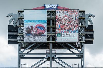 The rear side of the scoreboard at FAU stadium on the Florida Atlantic University campus in Boca Raton, Tuesday, August 11, 2020. [JOSEPH FORZANO/palmbeachpost.com]