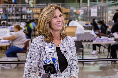 Palm Beach County Supervisor of Elections, Wendy Sartory Link, reacts to a question from a reporter asking her how she planned on celebrating her victory as the unofficial results show her winning the primary, at the tabulation center in Riviera Beach on Tuesday, August 18, 2020. Link, who was appointed by Governor Ron DeSantis is running in the primary for the Supervisor of Elections for Palm Beach County as a Democrat against Democrat Paulette Armstead. [JOSEPH FORZANO/palmbeachpost.com]