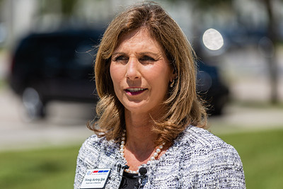 Palm Beach County Supervisor of Elections, Wendy Sartory Link, speaks at a press conference outside the Supervisor of Elections offices at 240 S. Military Trail in West Palm Beach on Tuesday, August 18, 2020. Link, who was appointed by Governor Ron DeSantis is running in the primary for the Supervisor of Elections for Palm Beach County as a Democrat against Democrat Paulette Armstead. [JOSEPH FORZANO/palmbeachpost.com]
