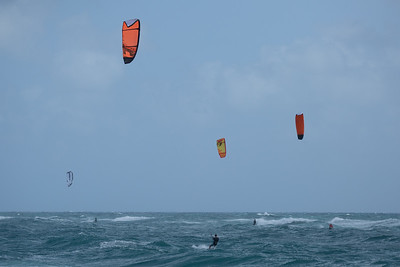 Kite surfers were out at Juno Beach on Monday, August 24, 2020, thanks to strong easterly winds that made for perfect conditions for  riding. [JOSEPH FORZANO/palmbeachpost.com]