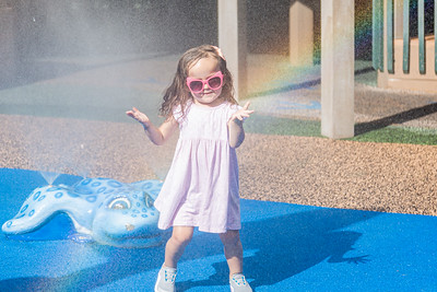 Abigail Rosenthal, 2, of Boca Raton plays in the mister on the playground of Sugar Sand Park in Boca Raton, Friday, August 28, 2020. Playgrounds reopened in Palm Beach County for the first time since the onset of the coronavirus pandemic. [JOSEPH FORZANO/palmbeachpost.com]