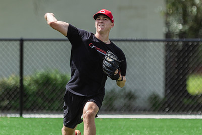 Spencer Stockton loosens up before his rotation on the pitcher's mound at, Cressey Sports Performance in Palm Beach Gardens, Thursday, September 3, 2020. Stockton, who lives in Wellington currently plays ball for the Class A Greenville Reds. He has been home practicing and working out since the coronavirus pandemic started. [JOSEPH FORZANO/palmbeachpost.com]