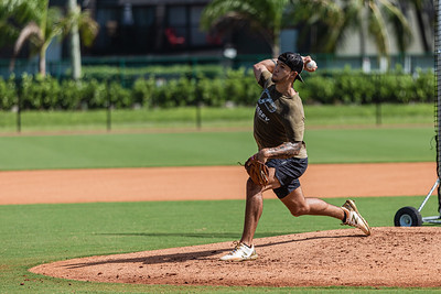Lyon Richardson, fires a pitch during a workout at Cressey Sports Performance in Palm Beach Gardens, Thursday, September 3, 2020. Richardson, from Jensen Beach, was drafted in the 2nd round in 2018 by the Pittsburgh Pirates and currently plays Class A ball for the Dayton Dragons. He has been home practicing and working out since the coronavirus pandemic started. [JOSEPH FORZANO/palmbeachpost.com]
