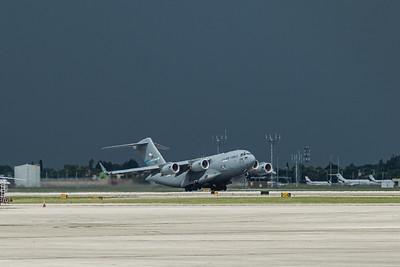The C-17 Globemaster takes off from Palm Beach International Airport under threatening skies, Wednesday, September 9, 2020. [JOSEPH FORZANO/palmbeachpost.com]