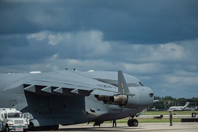 The C-17 Globemaster sits on the tarmac at Palm Beach International Airport under threatening skies, Wednesday, September 9, 2020. [JOSEPH FORZANO/palmbeachpost.com]
