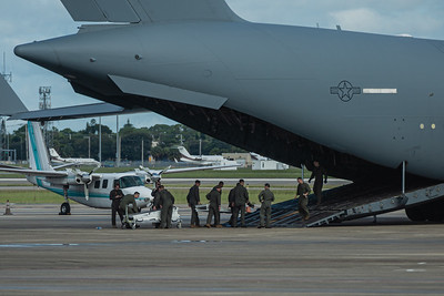 Crews ready special ramps to assist loading the Sikorsky VH-3D Sea King helicopter (Marine One when the President is aboard) aboard the C-17 Globemaster at Palm Beach International Airport, Wednesday, September 9, 2020. [JOSEPH FORZANO/palmbeachpost.com]