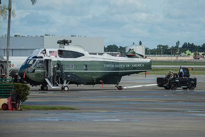 The Sikorsky VH-3D Sea King helicopter (Marine One when the President is aboard), is readied for transport back to Andrews Air Force Base in Maryland at Palm Beach International Airport, Wednesday, September 9, 2020. [JOSEPH FORZANO/palmbeachpost.com]