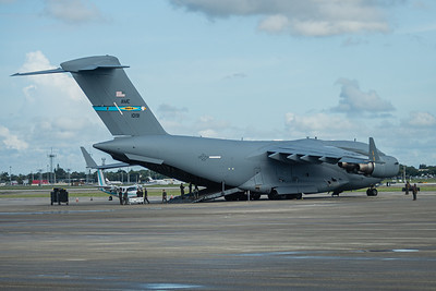 The Air Force C-17 Globemaster sits on the tarmac at Palm Beach International Airport, being readied to fly back to Andrews Air Force Base in Maryland, Wednesday, September 9, 2020. [JOSEPH FORZANO/palmbeachpost.com]