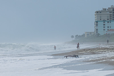 Strong easterly winds off the coast of Juno Beach create large waves and whipping sea foam onto the beach as few beach goers brave the conditions, Tuesday, September 22, 2020. [JOSEPH FORZANO/palmbeachpost.com]