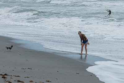 A woman plays with dog on Juno Beach, Tuesday, September 22, 2020. [JOSEPH FORZANO/palmbeachpost.com]