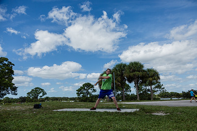 Warren Massey of Greenacres cranks up a shot from the third hole tee on the disc golf course at Okeeheelee Park, in West Palm Beach, Wednesday, September 23, 2020. Massey aced the third hole, throwing a hole in one. [JOSEPH FORZANO/palmbeachpost.com]