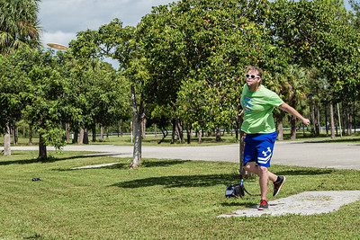 Warren Massey of Greenacres releases a shot from the fifth hole tee on the disc golf course at Okeeheelee Park, in West Palm Beach, Wednesday, September 23, 2020. Massey has been disc golfing for about six years.  [JOSEPH FORZANO/palmbeachpost.com]