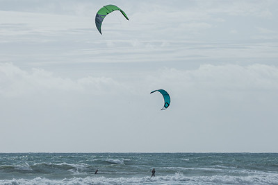 Two kite surfers cross paths on the rough seas caused by strong easterly winds off of Juno Beach, Thursday, September 24, 2020. [JOSEPH FORZANO/palmbeachpost.com]