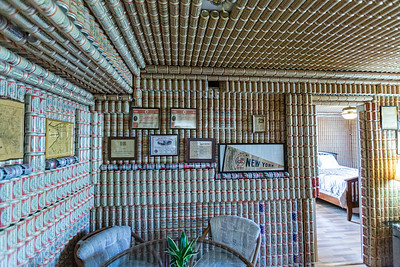 The ceiling and walls (including crown molding) of a condo at Lucerne Green Condominiums in Lake Worth is covered in empty Budweiser beer cans, Tuesday, September 29, 2020. The previous owner, Mike Amolette, who passed away in June 2020, spent about 16 years covering the walls and ceilings in Budweiser cans. The exact number of cans is unknown. [JOSEPH FORZANO/palmbeachpost.com]