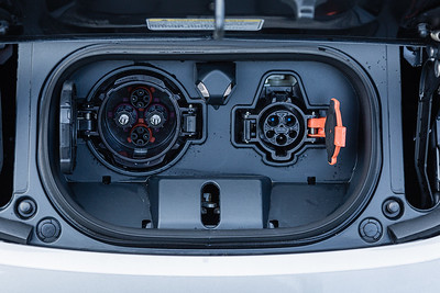 The charging couplers of a Nissan Leaf electric car before being hooked up to the new EVolution charging station at Midtown in Palm Beach Gardens, Friday, October 2, 2020. There are four Level 3 (fast) charging stations, and two Level 2 (slower charging) stations at the site. Florida Power & Light is commemorating National Drive Electric Week with the debut of a new electric vehicle universal fast-charging station at Mainstream in Midtown in Palm Beach Gardens. Customers will be charged about 30 cents per kilowatt hour to charge their electric vehicles. [JOSEPH FORZANO/palmbeachpost.com]