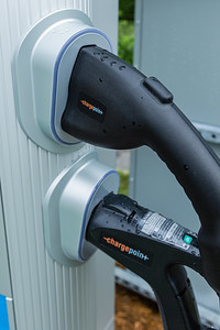 Detail of the charger couplings at the new EVolution charging station at Midtown in Palm Beach Gardens, Friday, October 2, 2020. There are four Level 3 (fast) charging stations, and two Level 2 (slower charging) stations at the site. Florida Power & Light is commemorating National Drive Electric Week with the debut of a new electric vehicle universal fast-charging station at Mainstream in Midtown in Palm Beach Gardens. Customers will be charged about 30 cents per kilowatt hour to charge their electric vehicles. [JOSEPH FORZANO/palmbeachpost.com]