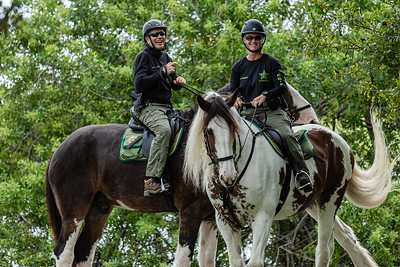 Two mounted Palm Beach Sheriff deputies share a laugh as they patrol Okeeheelee Park in West Palm Beach, Wednesday, October 7, 2020. (JOSEPH FORZANO / THE PALM BEACH POST)