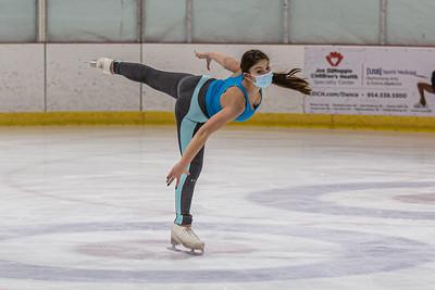 Sasha Fradlin skates through her routine at Palm Beach Skate Zone in Lake Worth, Thursday, October 8, 2020. Fradlin practiced at the Sake Zone with her coach, figure skating instructor Nataliya Ivannikova. (JOSEPH FORZANO / THE PALM BEACH POST)